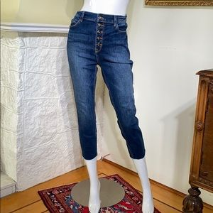 Sneak Peek High Rise Button Fly Cropped Mom Jeans